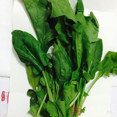 将菠菜择洗干净后,去茎留叶