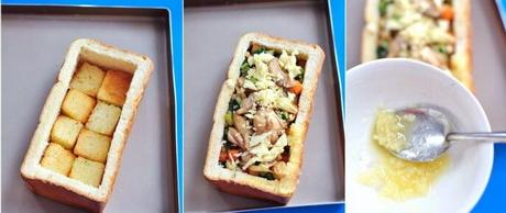 鸡肉杂蔬土司盒的做法步骤10-12