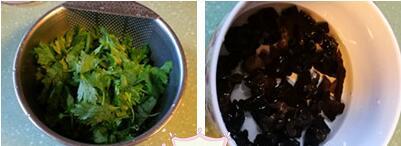 芹菜叶黑木耳炒蛋的做法步骤1