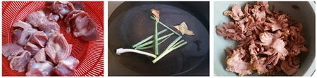 酸萝卜炒鸡胗的做法步骤1-3