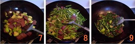 韭菜丝瓜鸭血步骤7-9
