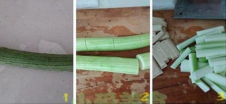 剁椒香干蒸丝瓜的做法步骤1-3