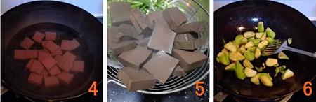 韭菜丝瓜鸭血步骤4-6