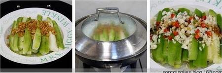 蒜蓉粉丝蒸丝瓜的做法步骤3