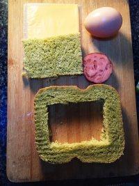 #儿童早餐#鸡蛋火腿吐司片的做法步骤3